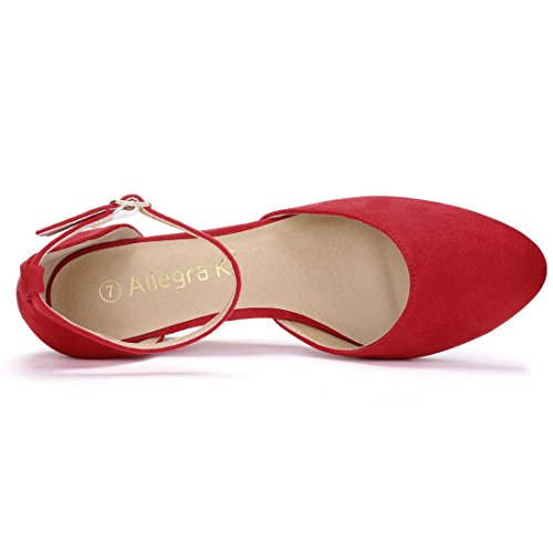 Allegra K Damen Rund Kopf Blockabsatz Knöchel-Riemen dicke Hacke Pumps Sandale Rot