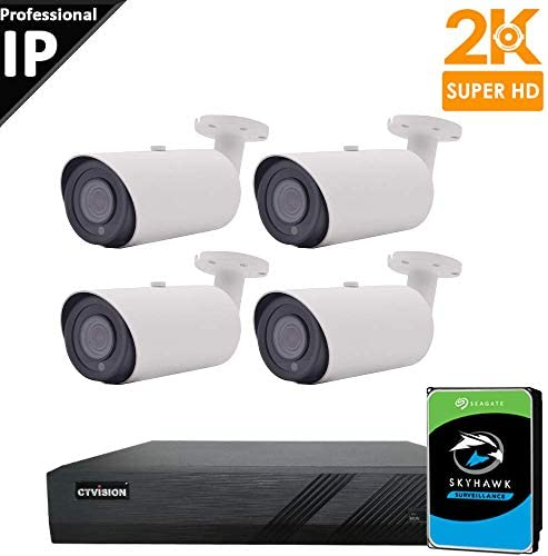 CTVISION 5MP 2.5X1080P Home Business Security Camera Systems,4-Channel PoE Video Security System 2TB HDD ,4pcs 5MP Outdoor 4X Zoom Motorized Auto Focus Bullet IP Camera,Free APP,P2P,Motion Alert