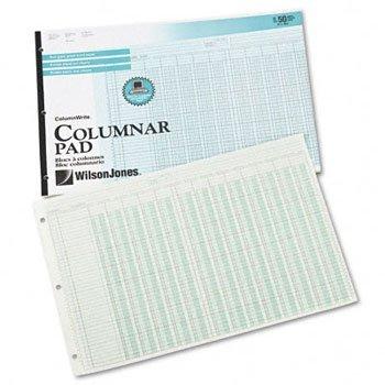 Wilson Jones® Column Write® Side Bound Columnar Pad PAD,13 COL,11X16-3/8,GN (Pack of15)