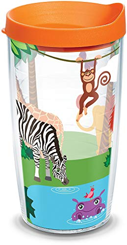 Tervis 1129705 Safari Animals Insulated Tumbler with Wrap and Orange Lid, 16oz, Clear by Tervis