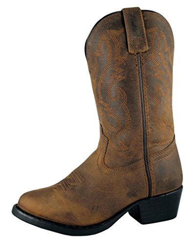 Smoky Children's Kid's Oiled Distress Brown Leather Western Cowboy -
