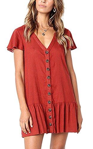 Dress Shirt V Sleeve Red Mini Button Dresses Women Pleated Apparel Neck s Short Doris Y7qxzq
