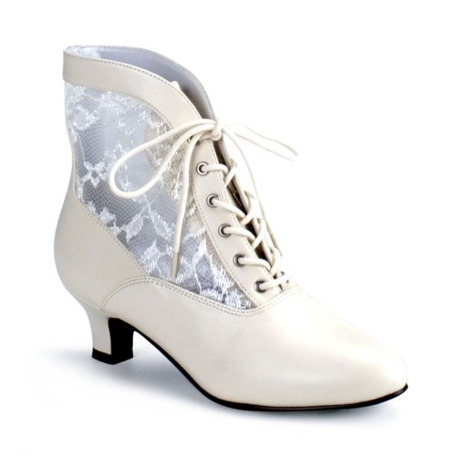Dame-05 Ladies Size 7 Ivory Victorian Granny Boots Lace Accent