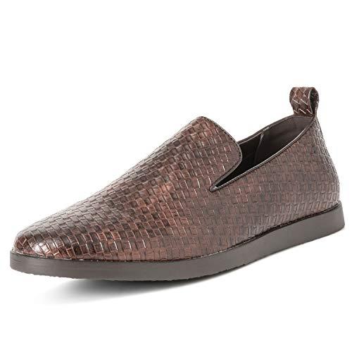 Mens Queensbery Kingsley Work Leather Summer Flat Slip On Weave Shoes - Brown - EU45/US12 - QB0036