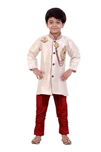Boys Sherwani Kurta Pyjama Kids Wear by Arshia Fashions - 8 - 11 Years - Full Sleeves - Party Wear - Beige Red
