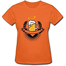 GGifKCU Beer In A Beer Mug With Ears Of Wheat And Halo Tee Shirts For Womens SkyBlue