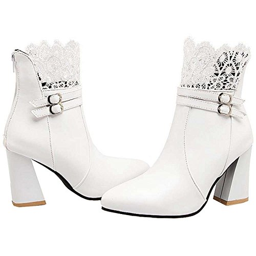 with Heel Boots SJJH for Women Chunky Sexy Women Size and Ankle Large Lace White Parties Boots tt1Hq