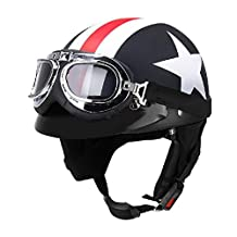 Unisex Motorcycle Helmets with Goggles Half Open Face Strip Stars Helmet Retro Vintage 54-60cm Universal Cool Man Helmet