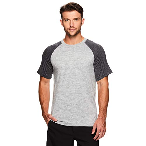 Gaiam Men's Raglan Crew Neck T Shirt - Short Sleeve Yoga & Workout Top - Sleet Heather Inhale, - Intensity Soccer T-shirt