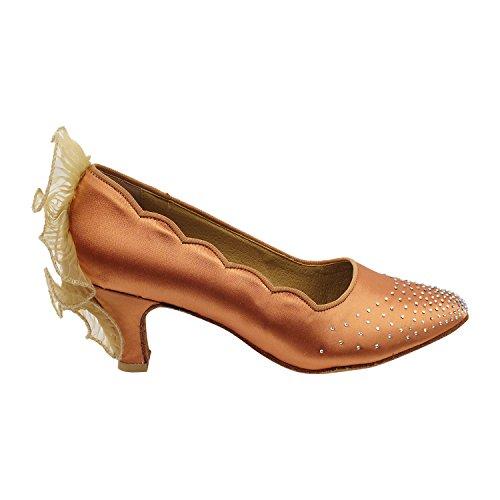Pigeon Dor Chaussures Parti Parti Series5518 Confort Robe De Soirée Pompes, Chaussures De Mariage: Femmes Chaussures De Danse De Salon Talon Moyen 5518- Tan Satin