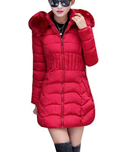 Addensare Grazioso Dunkelrot Cappuccio Piumini Slim Plus Giacche con Lunga Donna Cappotti in Calda Eleganti Moda Inverno Prodotto Manica Pelliccia Piumino Invernali Fit wTqT7g1x8