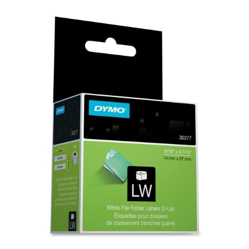 DYMO 30277 - 2-Up File Folder Labels, 9/16 x 3-7/16, White, 260/Pack