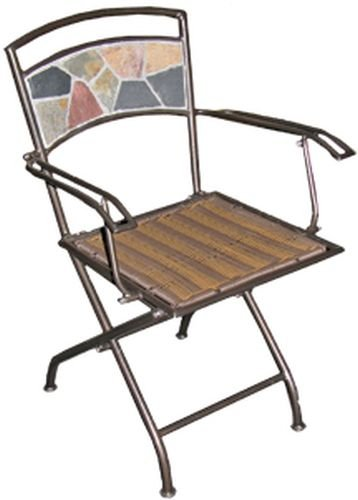 Deeco CP DM10191 Rock Canyon Folding Chair (Pair) with Wrought Iron Powder Coated Frame and Slate Tiles (Rock Deeco)