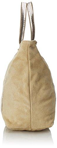 CTM bolso de mano para mujer de piel suave y genuina hecho en Italia - 43x34x18 Cm Gris (Fango)