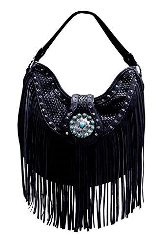 Cow Western Set Bag Handbag Shoulder Purse Fringe Carry Cowgirl Wallet Black Messenger Hobo Concealed HI7rgI