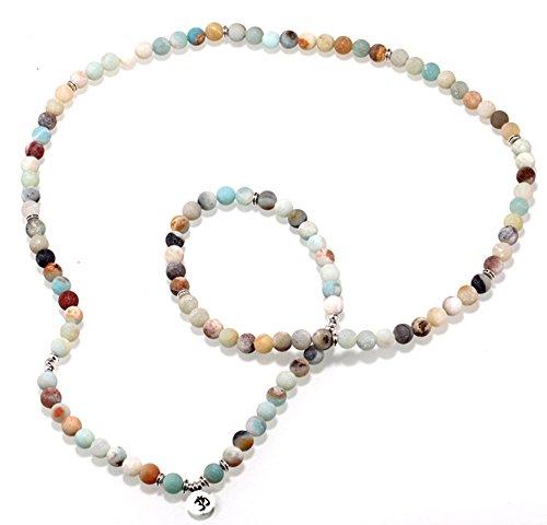 Zhepin 8MM Amazonite 108 Mala Beads Charm Bracelet for Men Women Yoga Bracelet Necklace by Zhepin (Image #9)