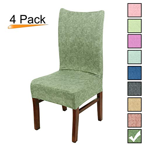 Stretch Dining Room Chair Covers Soft Spandex Seat Protector Removable Slipcover for Hotel Wedding Party Set of 4, Pine Green