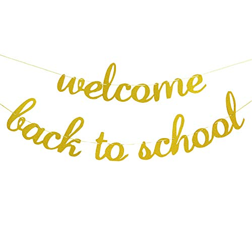Welcome Back to School Banner Gold Glitter - Back to School Banner- Classroom Decor - Back to School Party Decorations Supplies by Partyprops