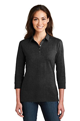 Port Authority Ladies 3/4-Sleeve Meridian Cotton Blend Polo, Black, XX-Large
