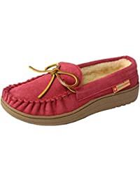 Sabine Womens Genuine Suede Shearling Slip On Moccasin Slippers