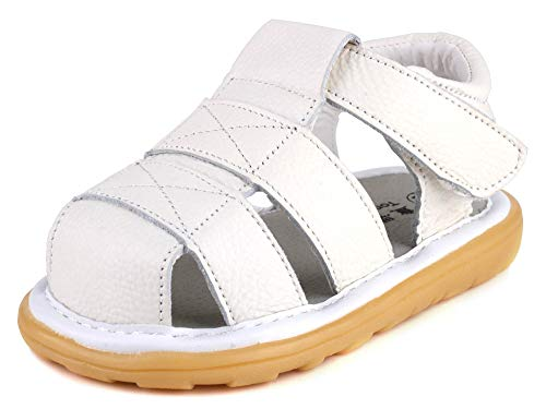 Anrenity Boys Girls Genuine Leather Soft Closed Toe Flat Shoes Outdoor Summer Sandals(Toddler) LX-003WT White 19