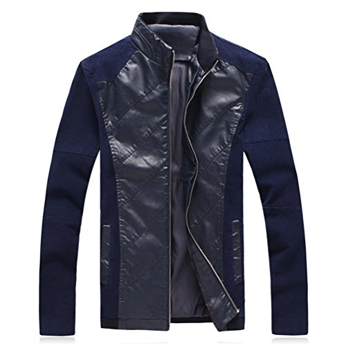 Sleeve Moda Pu Leather Zipped Long Blue Zhhlaixing Mens Jackets Dark Outerwear Coats tOw7Ud