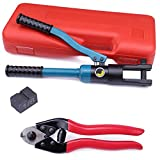 Muzata Custom Hydraulic Hand Crimper Tool for 1/8' Stainless Steel Cable Railing Kit System Fittings- Wire Rope Swaging,2019 Upgrade Version Crimping-60 Ton with Cutter CT01,CT1