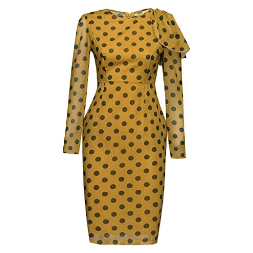 Pengy Women's Dot Print Dress O Neck Vintage Office Skirt Ladies Bodycon Backless Long Sleeve Dresses Yellow ()