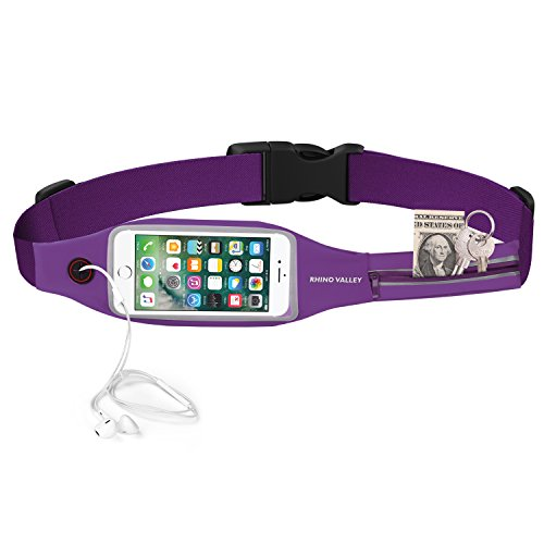 Rhino Valley Running Belt Waist Pack, Sports Fanny Fitness Workout Belt, Water Resistant Bag, Dual Pocket with Clear Touch Screen Window for iPhone X/8/7 Plus, Galaxy Note 8/S9 Plus – Purple