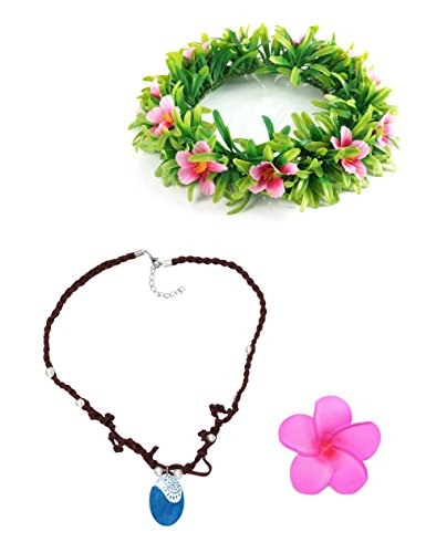 Muababy Girls Moana Necklace with Hawaii Flowers Garland (Necklace with Headband for Adult) -