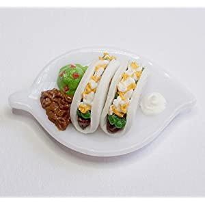 112 dollhouse scale taco platter with guacamole refried beans sour cream dollhouse miniature fairy garden