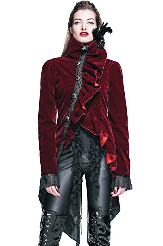 [Gothic Clothing Punk Jacket Victorian Steampunk Coat Cyberpunk Renaissance Costume (XL)] (Woman Pirate Outfit Ideas)