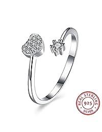 BALANSOHO Women 925 Sterling Silver Open Heart Wedding Bands CZ Anniversary Engagement Love Rings Adjustable
