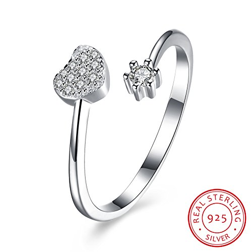 BALANSOHO Women 925 Sterling Silver Open Heart Wedding Band Love Ring Resizable Engagement Ring with CZs (Double Heart Pink Czs Ring)