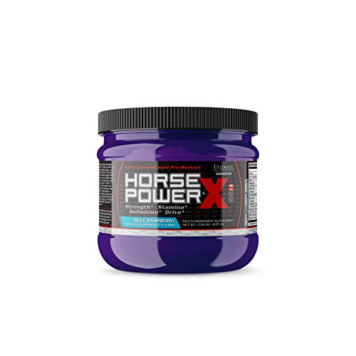 Ultimate Nutrition Horsepower X Advanced Preworkout Supplement with Creatine and Vitamin B12, 45 Servings, Blue Raspberry