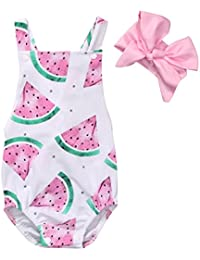 Baby Girls Watermelons Print Backless Ruffle Bodysuit...