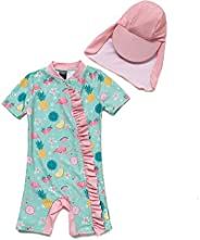 BONVERANO Baby Girl One-Picec Bathing Suit Long Sleeve UPF 50+ Sun Protection