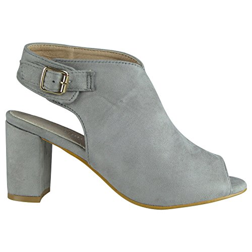Womens Gris Mi Boucle Chaussures Partie Sandales 3 Taille Talon 8 Dames Bloc Slingback Peeptoe HOBwHr
