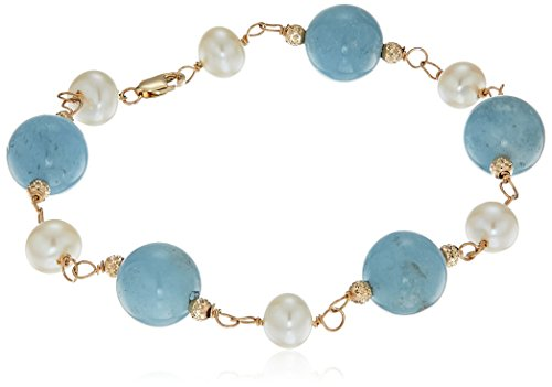 14k Yellow Gold 6.5-7mm White Freshwater Cultured Pearl 10mm Simulated Gemstones Tennis Bracelet, ()