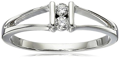10k White Gold 2-Stone Split-Bale Diamond Ring (0.08 cttw, J-K Color, I2-I3 Clarity), Size 6 (Gold Two Stone)