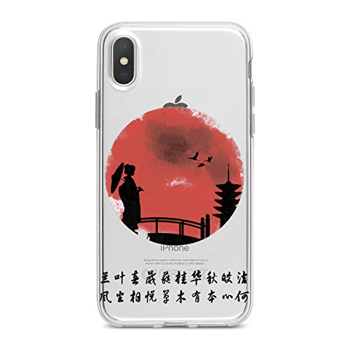 Lex Altern TPU Case for iPhone Apple Xs Max Xr 10 X 8+ 7 6s 6 SE 5s 5 Japanese View Lightweight Flexible Design Woman Clear Tower Smooth Bridge Gift Cover Soft Print Stork Slim Village Gentle Sunset (Gentle Village)