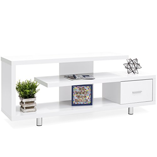 Best Choice Products TV Stand Media Console Select Channel for Home Entertainment Systems (White) Contemporary Modern Tv Stand