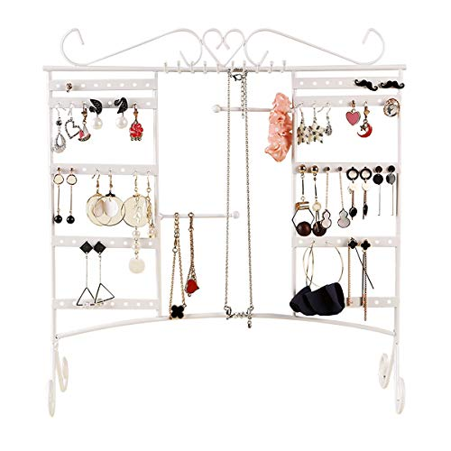 (Comcreate Jewelry Organizer Earring Holder Necklace Display Large Capacity with Removable Foot Bracelets Hanger Wall Stand Rack(White))