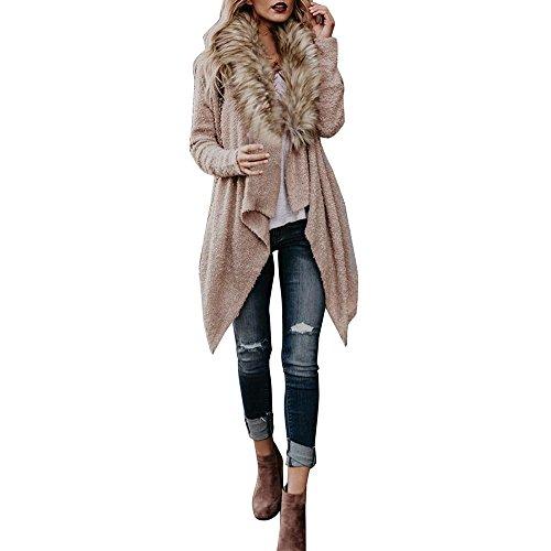 Qisc Faux Fur Neck Coat, Spring Autumn Wool Outerwear Warm Outdoor Parka Overcoat Jacket Cape (Khaki, (Persian Lamb Fur Coat Jacket)