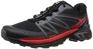 Salomon Wings Pro 2 Trail Running Shoe - Men's Black/Dark Cloud/Radiant Red, US 7.0/UK 6.5