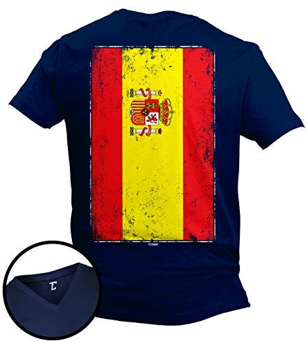(Distressed Spain Flag - Spanish Latino Unisex V-Neck T-Shirt (Navy - Back Print, X-Large))