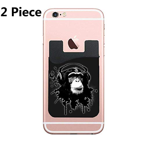ZninesOnhOLD Monkey Business Cell Phone Stick On Wallet Card Holder Phone Pocket for All Smartphones - Black - 2 Piece