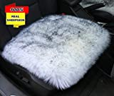 Inzoey Sheepskin Car Front Seat Cover Pad 18×18inch Long Wool Seat Cushion Winter Warm Universal Fit Auto, SUV, Truck, Dinner Chair Office Chair Gray Tips