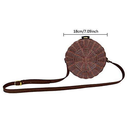 Bag Crossbody Bag Chocolate for Bag Rattan Weave Round Beach Basket Handmade Shoulder Summer Bag Women EFaHvnqwz