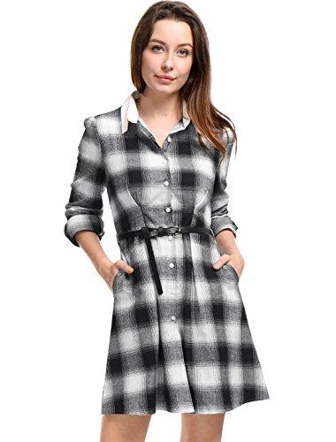 Plaid Belted Shirt Dresses - 7